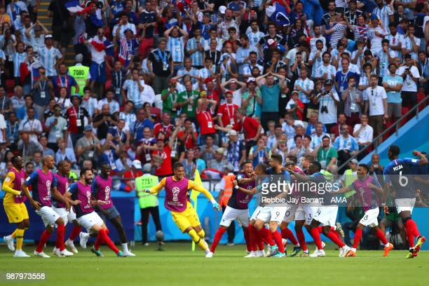 Kylian Mbappe of France celebrates scoring a goal with his teammates to make it 42 during the 2018 FIFA World Cup Russia Round of 16 match between...