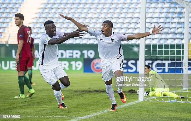Kylian Mbappe of France celebrates the second goal for his team during the U19 match between Portugal and France at CarlBenzStadium on July 21 2016...
