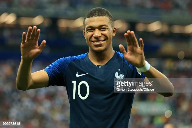 Kylian Mbappe of France celebrates victory after the 2018 FIFA World Cup Russia Final between France and Croatia at the Luzhniki Stadium on July 15...