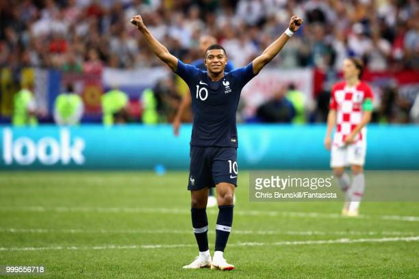 Kylian Mbappe of France celebrates victory at the final whistle during the 2018 FIFA World Cup Russia Final between France and Croatia at Luzhniki...