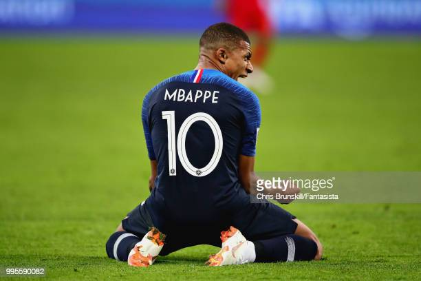 Kylian Mbappe of France celebrates victory during the 2018 FIFA World Cup Russia Semi Final match between Belgium and France at Saint Petersburg...