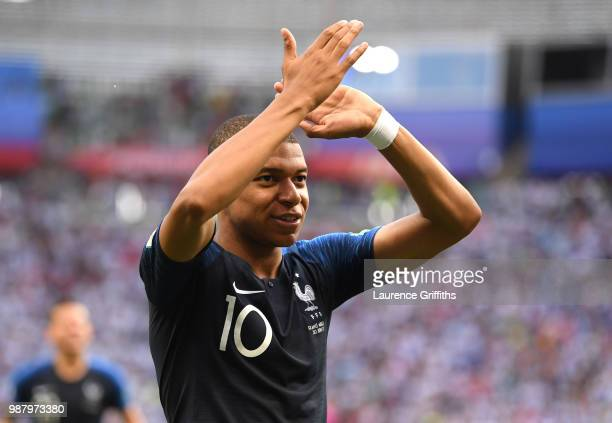 Kylian Mbappe of France celebrates victory following the 2018 FIFA World Cup Russia Round of 16 match between France and Argentina at Kazan Arena on...