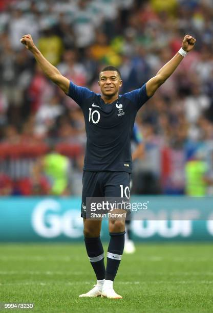 Kylian Mbappe of France celebrates victory following the 2018 FIFA World Cup Final between France and Croatia at Luzhniki Stadium on July 15 2018 in...