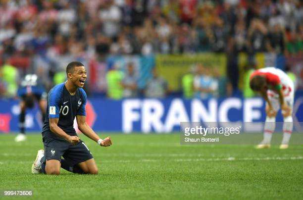 Kylian Mbappe of France celebrates victory following the 2018 FIFA World Cup Final between France and Croatia at Luzhniki Stadium on July 15, 2018 in...