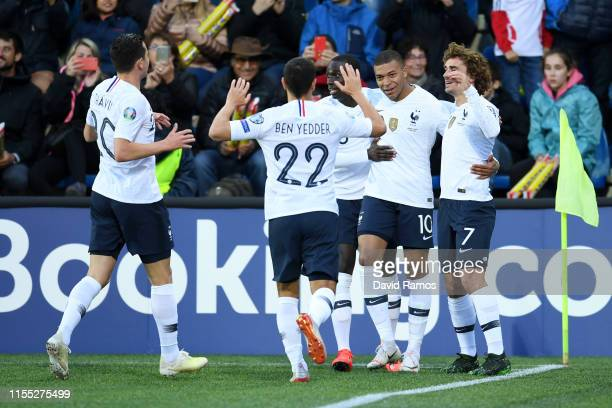 Kylian Mbappe of France celebrates with teammates after scoring her team's first goal during the UEFA Euro 2020 Qualification match between Andorra...