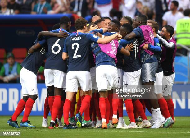 Kylian Mbappe of France celebrates with teammates after scoring his team's fourth goal during the 2018 FIFA World Cup Russia Round of 16 match...