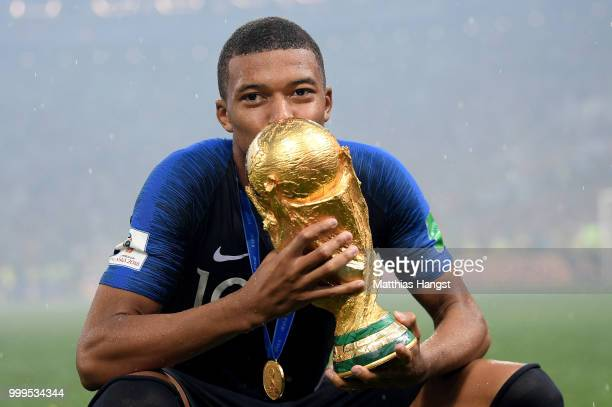Kylian Mbappe of France celebrates with the World Cup Trophy following his sides victory in the 2018 FIFA World Cup Final between France and Croatia...