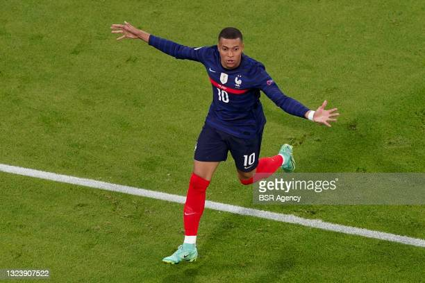 Kylian Mbappe of France celebrating before his goal got disallowed during the UEFA Euro 2020 match between France and Germany at Allianz Arena on...