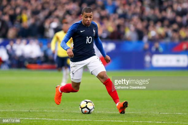 Kylian Mbappe of France controls the ball during the international friendly match between France and Colombia at Stade de France on March 23 2018 in...