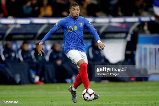 Kylian Mbappe of France during the EURO Qualifier match between France v Iceland at the Stade de France on March 25, 2019 in Paris France