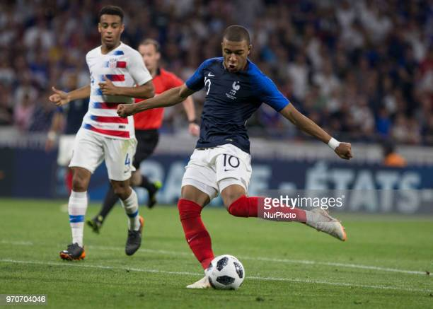 kylian Mbappe of France during the friendly football match between France and USA at the at the Parc Olympique lyonnais stadium in DecinesCharpieu...