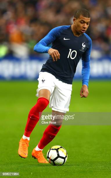 Kylian Mbappe of France during the International friendly match between France and Columbia at Stade de France on March 23 2018 in Paris France