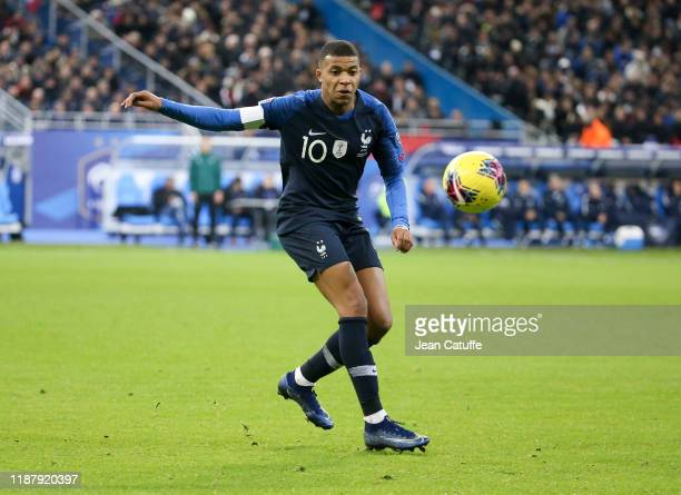 Kylian Mbappe of France during the UEFA Euro 2020 Qualifier between France and Moldova at Stade de France on November 14 2019 in SaintDenis near...