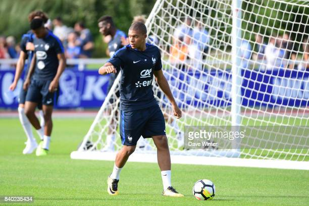 Kylian Mbappe of France during training session at Centre National du Football on August 28 2017 in Clairefontaine en Yvelines France