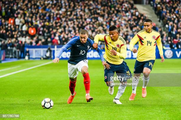 Kylian Mbappe of France Frank Fabra and Luis Fernando Muriel of Colombia during the International friendly match between France and Colombia on March...