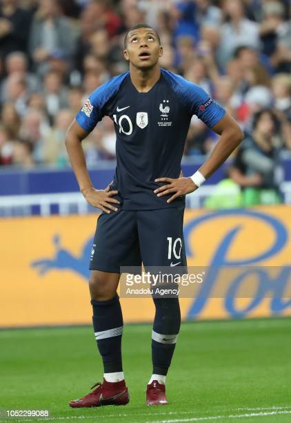 Kylian Mbappe of France gestures during the UEFA Nations League A Group 1 match between France and Germany at Stade de France in SaintDenis north of...