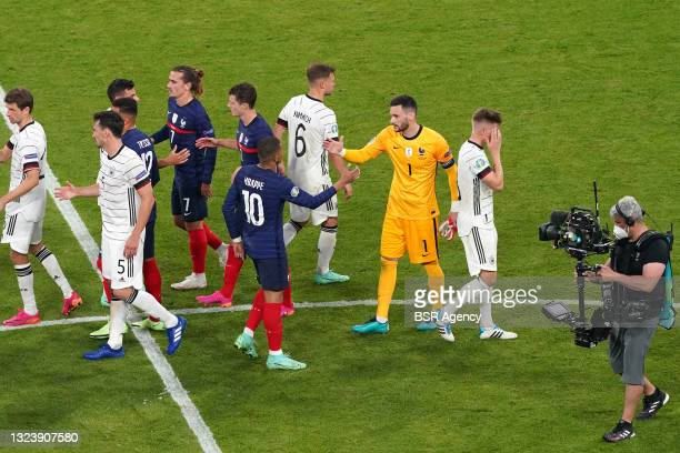 Kylian Mbappe of France, Goalkeeper Hugo Lloris of France during the UEFA Euro 2020 match between France and Germany at Allianz Arena on June 15,...