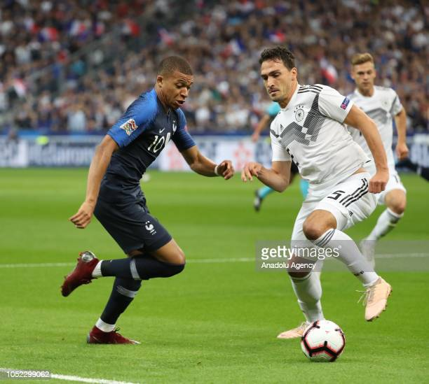 Kylian Mbappe of France in action against Hummels of Germany during the UEFA Nations League A Group 1 match between France and Germany at Stade de...