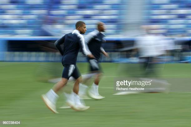 Kylian Mbappe of France in action during a training session at Nizhny Novgorod Stadium on July 5 2018 in Nizhny Novgorod Russia
