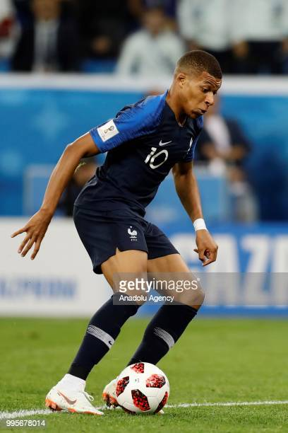 Kylian Mbappe of France in action during the 2018 FIFA World Cup Russia semi final match between France and Belgium at the Saint Petersburg Stadium...