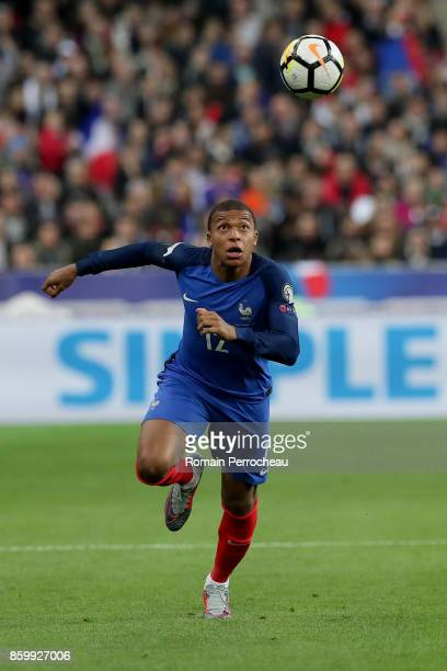 Kylian Mbappe of France in action during the FIFA 2018 World Cup Qualifier between France and Belarus at Stade de France on October 10 2017 in Paris