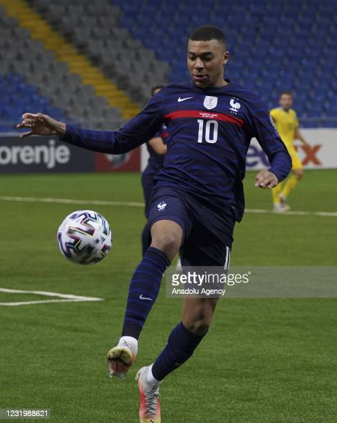 Kylian Mbappe of France in action during the FIFA World Cup Qatar 2022 qualification Group D match between Kazakhstan and France, in Nur-Sultan, on...