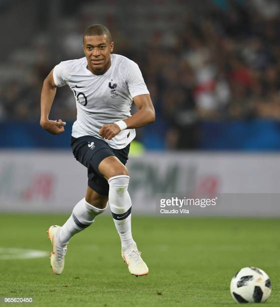 Kylian Mbappe of France in action during the International Friendly match between France and Italy at Allianz Riviera Stadium on June 1 2018 in Nice...