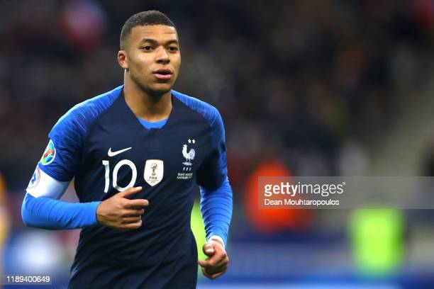 Kylian Mbappe of France in action during the UEFA Euro 2020 Qualifier between France and Moldova held at Stade de France on November 14, 2019 in...