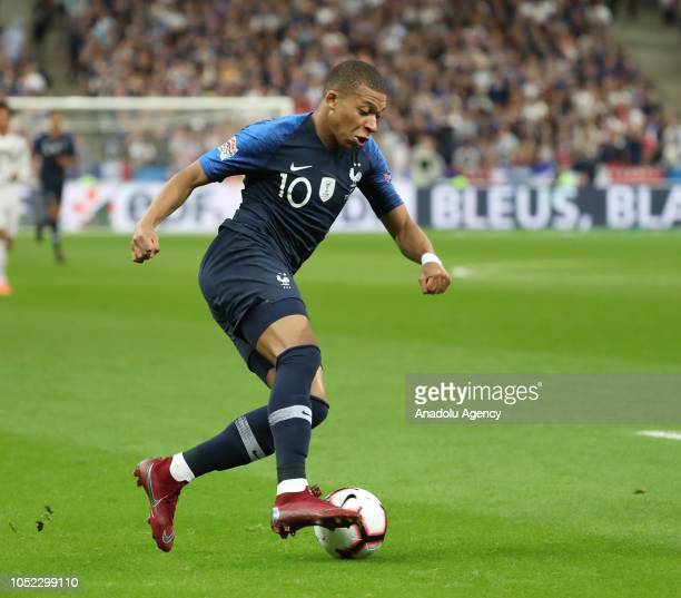 Kylian Mbappe of France in action during the UEFA Nations League A Group 1 match between France and Germany at Stade de France in SaintDenis north of...
