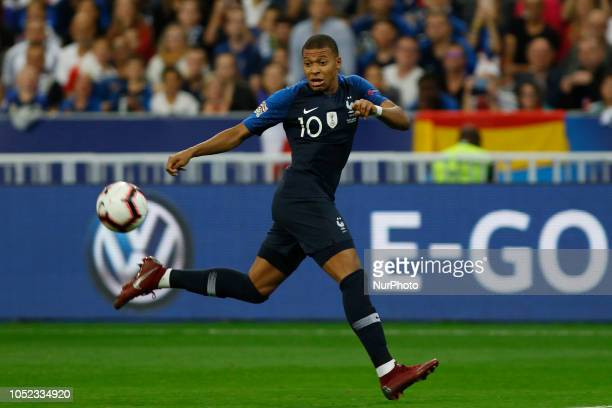 Kylian Mbappe of France in action during the UEFA Nations League football match between France and Germany at the Stade de France in SaintDenis near...