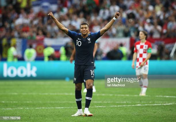 Kylian Mbappe of France is seen during the 2018 FIFA World Cup Russia Final between France and Croatia at Luzhniki Stadium on July 15 2018 in Moscow...