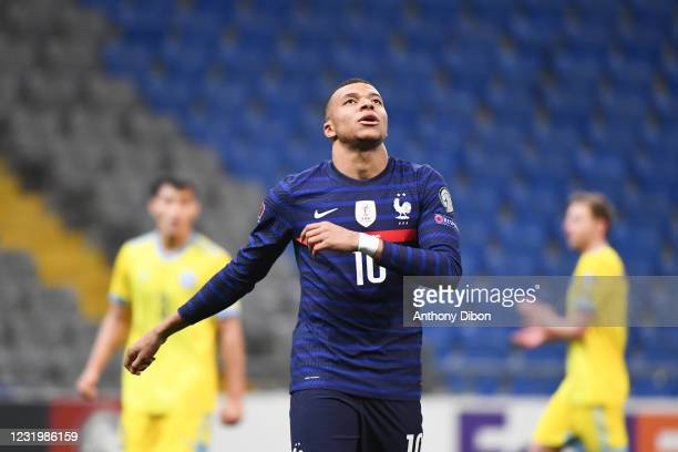 Kylian MBAPPE of France looks dejected after he misses a penalty during the Qualifying World Cup match between Kazakhstan and France at Astana Arena...