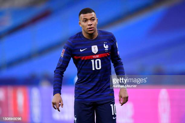 Kylian Mbappe of France looks on during the FIFA World Cup 2022 Qatar qualifying match between France and Ukraine on March 24, 2021 in Paris, France....