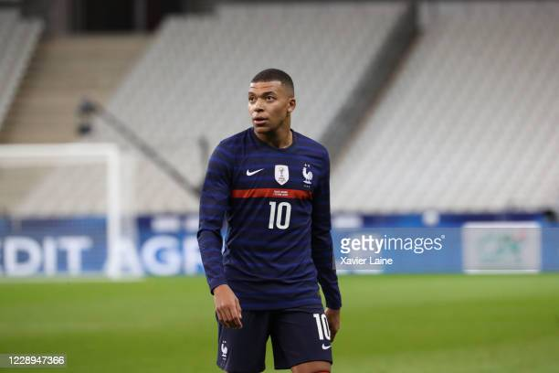 Kylian Mbappe of France looks on during the international friendly match between France and Ukraine at Stade de France on October 7, 2020 in Paris,...