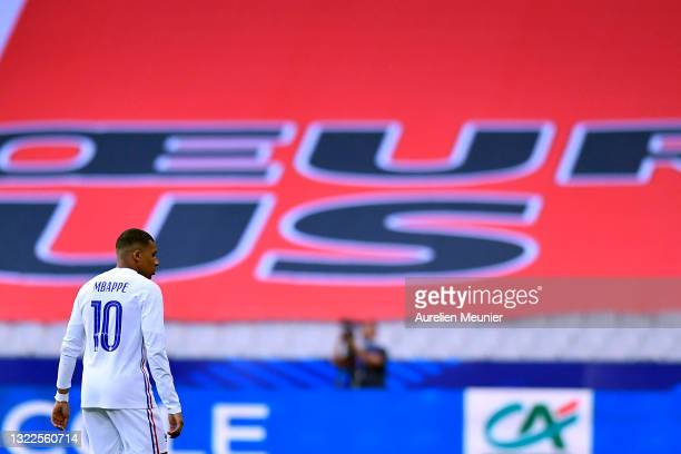 Kylian Mbappe of France looks on during the international friendly match between France and Bulgaria at Stade de France on June 08, 2021 in Paris,...