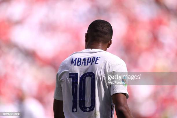 Kylian Mbappe of France looks on during the UEFA Euro 2020 Championship Group F match between Hungary and France at Puskas Arena on June 19, 2021 in...