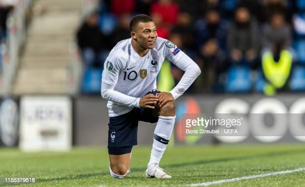 Kylian Mbappe of France looks on during the UEFA Euro 2020 Qualifier Group H match between Andorra and France at Estadi Nacional on June 11 2019 in...