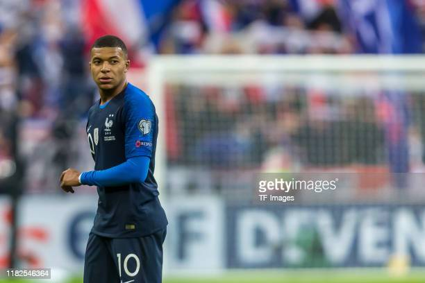 Kylian Mbappe of France looks on during the UEFA Euro 2020 Qualifier between France and Moldova on November 14 2019 in Paris France