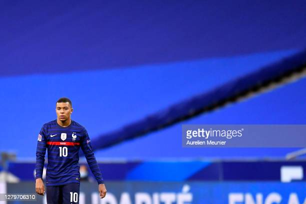Kylian Mbappe of France looks on during the UEFA Nations League group stage match between France and Portugal at Stade de France on October 11, 2020...