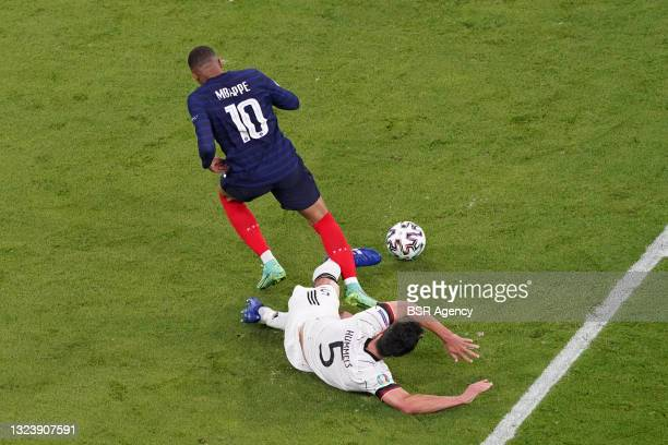 Kylian Mbappe of France, Mats Hummels of Germany during the UEFA Euro 2020 match between France and Germany at Allianz Arena on June 15, 2021 in...