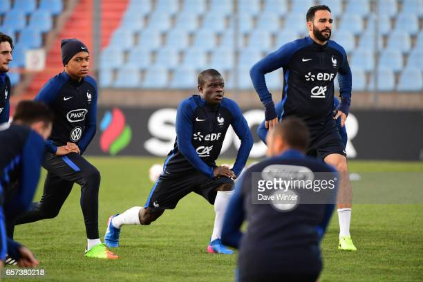 Kylian Mbappe of France Ngolo Kante of France and Adil Rami of France during the training session before the FIFA World Cup 2018 qualifying match...