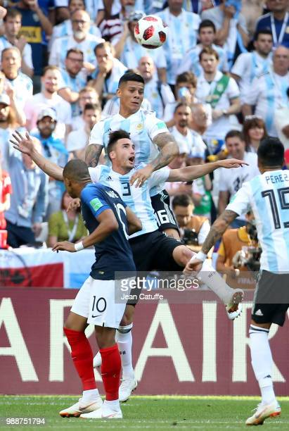 Kylian Mbappe of France Nicolas Tagliafico Marcos Rojo of Argentina during the 2018 FIFA World Cup Russia Round of 16 match between France and...