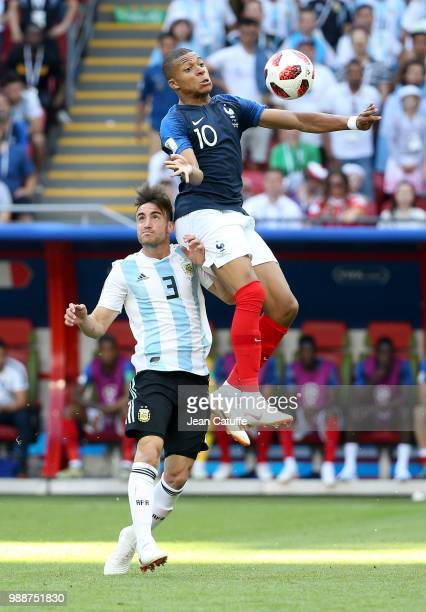Kylian Mbappe of France Nicolas Tagliafico of Argentina during the 2018 FIFA World Cup Russia Round of 16 match between France and Argentina at Kazan...