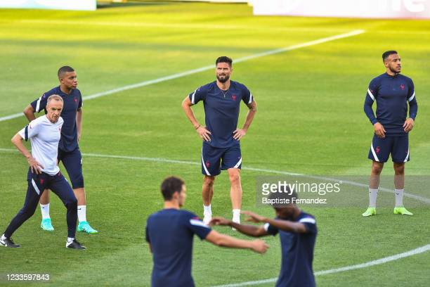 Kylian MBAPPE of France, Olivier GIROUD of France, Corentin TOLISSO of France during the French national football team training session prior to the...