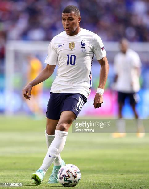 Kylian Mbappe of France on the ball during the UEFA Euro 2020 Championship Group F match between Hungary and France at Puskas Arena on June 19, 2021...