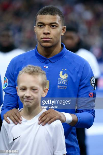 Kylian Mbappe of France poses before the 2020 UEFA European Championships group H qualifying match between France and Iceland at Stade de France on...