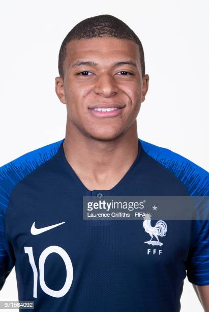 Kylian Mbappe of France poses for a portrait during the official FIFA World Cup 2018 portrait session at the Team Hotel on June 11 2018 in Moscow...