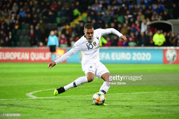 Kylian Mbappe of France puts his side 40 ahead during the Qualifying European Championship match between Moldova and France at Zimbru Stadium on...