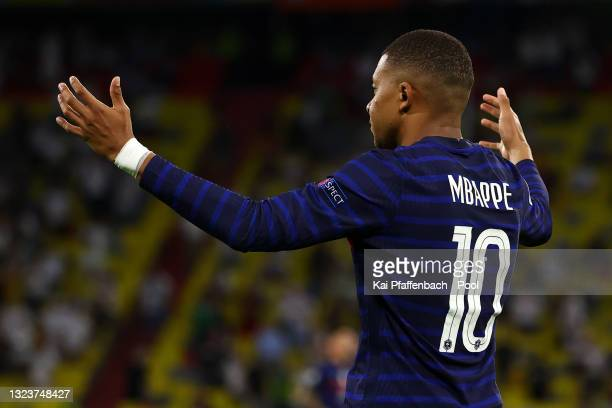 Kylian Mbappe of France reacts after his goal is ruled out for offside during the UEFA Euro 2020 Championship Group F match between France and...