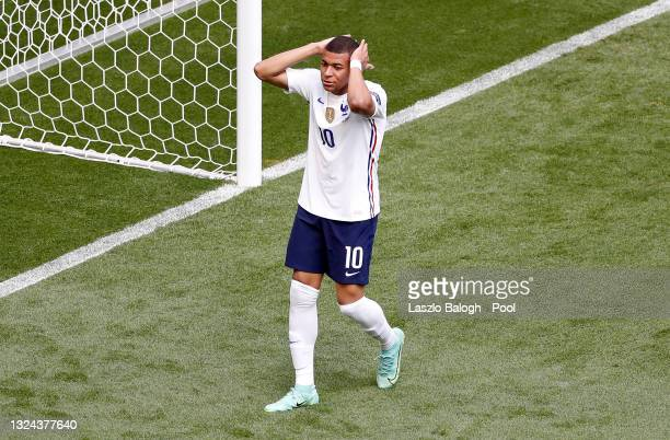 Kylian Mbappe of France reacts after missing a chance during the UEFA Euro 2020 Championship Group F match between Hungary and France at Puskas Arena...